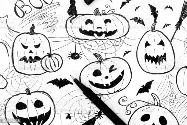 Halloween concept markers hand drawing with black pen black and white picture id995424238?b=1&k=6&m=995424238&s=612x612&h=puc19t9etu3rjr5elafzjqghp33zkm cpwqhnazj0qc=