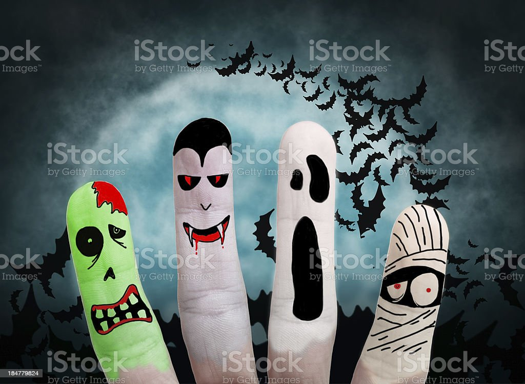 Halloween concept - Painted finger royalty-free stock photo