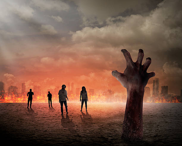 halloween concept - zombie apocalypse stock photos and pictures