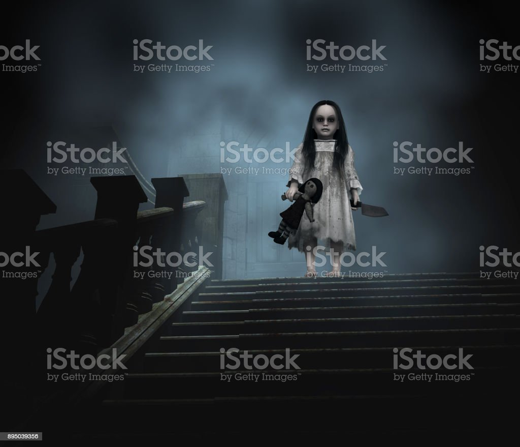 Halloween Concept Scary Ghost Child stock photo