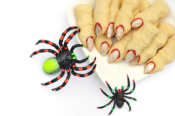 Halloween cookies witch's fingers stock photo