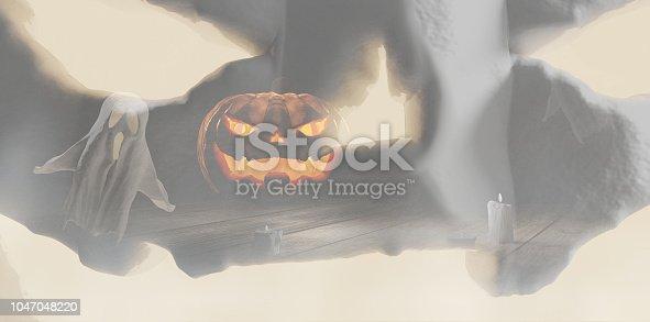 istock Halloween creative background Halloween pumpkin and ghosts 3d-illustration Halloween creative background Halloween pumpkin and ghosts 3d-illustration 1047048220