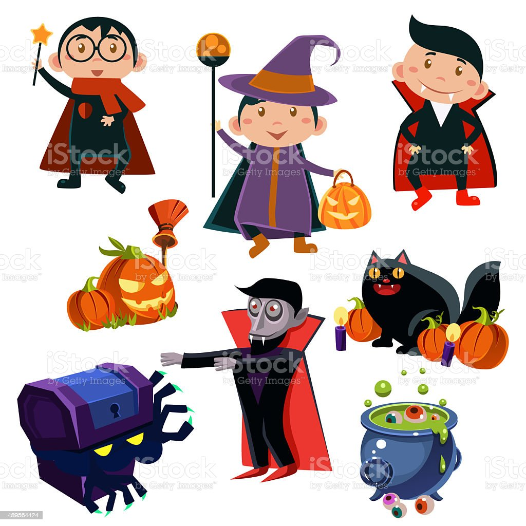 Halloween Cute Witches  set stock photo