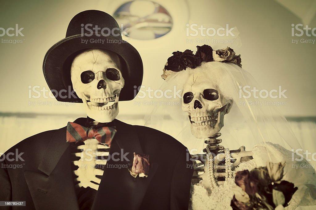 Halloween Day of the Dead Skeleton Couple Portrait Horizontal stock photo