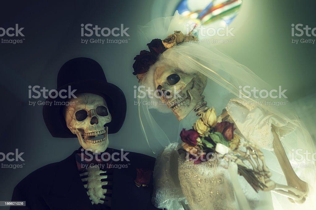 Halloween Day of the Dead Skeleton Wedding Portrait Horizontal stock photo