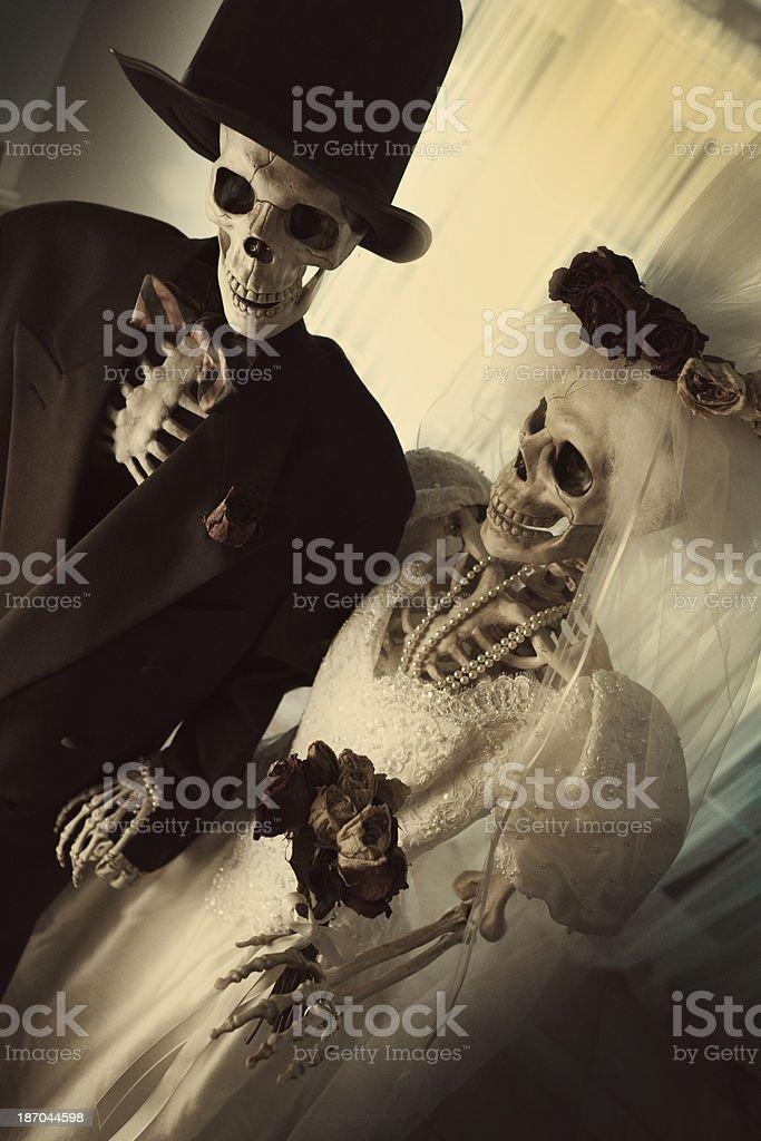 Halloween Day of the Dead Wedding Skeleton Couple Portrait Vertical stock photo