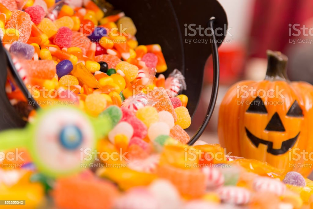 Halloween decor, candy at home setting. stock photo