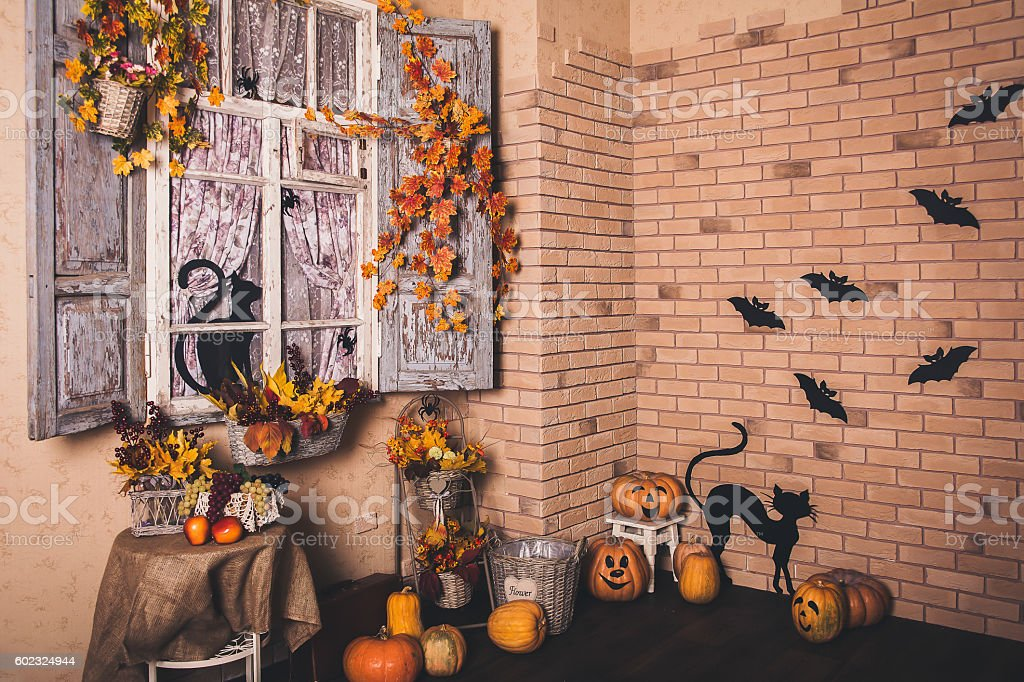 Halloween decorated yard of old house. stock photo
