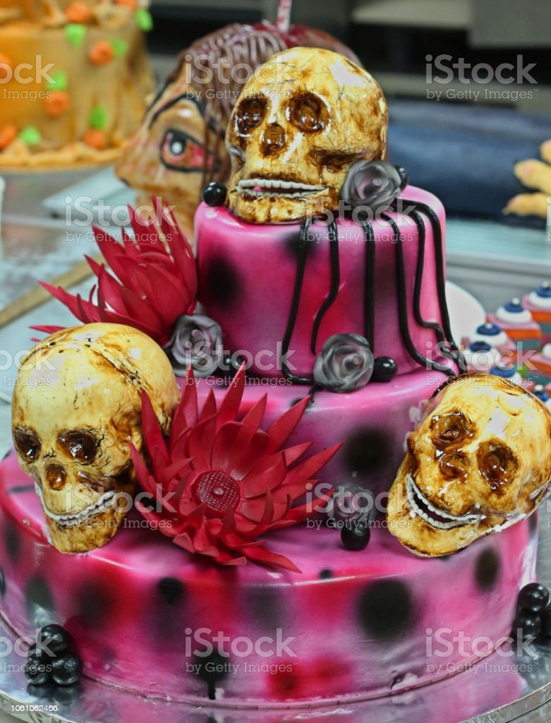 Swell Halloween Decoration And Scary Skull Cake Stock Photo Download Funny Birthday Cards Online Inifofree Goldxyz