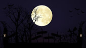 Halloween decoration set artwork and full moon on dark night background- Full moon and tomb background - 3D Illustration