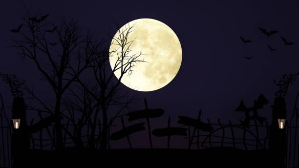 décoration de halloween mis oeuvre et pleine lune sur nuit noire fond - pleine lune et tombeau arrière-plan - illustration 3d - pleine lune photos et images de collection