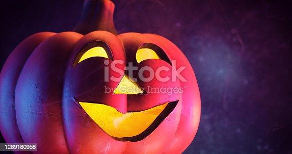 Halloween decoration with Jack O' Lantern and mist
