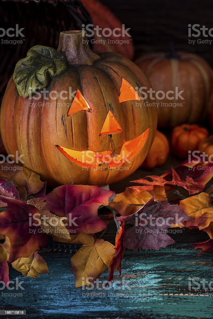 Halloween decoration with jack o'lantern royalty-free stock photo