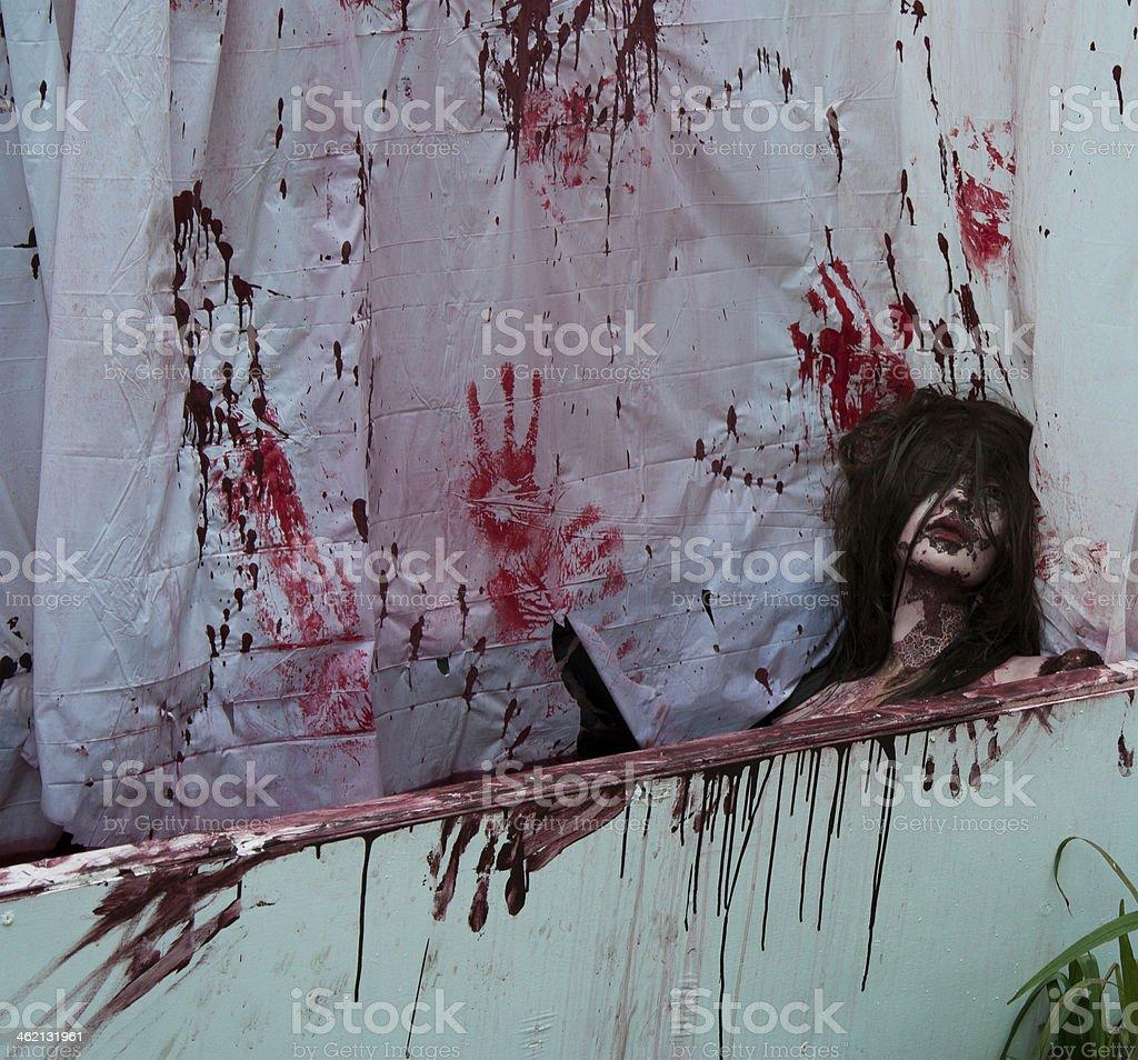 Halloween Decoration-bloody woman stock photo