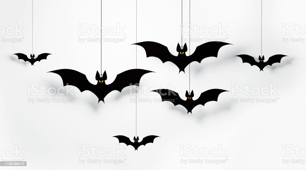 Halloween Decorations Cut Out Bats Flaying On White Background