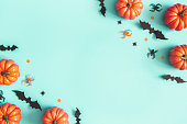 istock Halloween decorations on blue background. Halloween concept. Flat lay, top view, copy space 1178051143