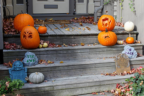 Halloween Decorations on the front Steps stock photo