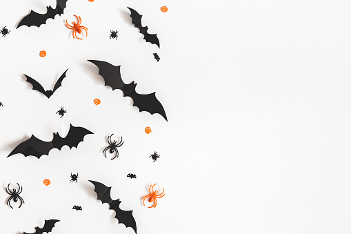 istock Halloween decorations on white background. Halloween concept. Flat lay, top view, copy space 1038633864