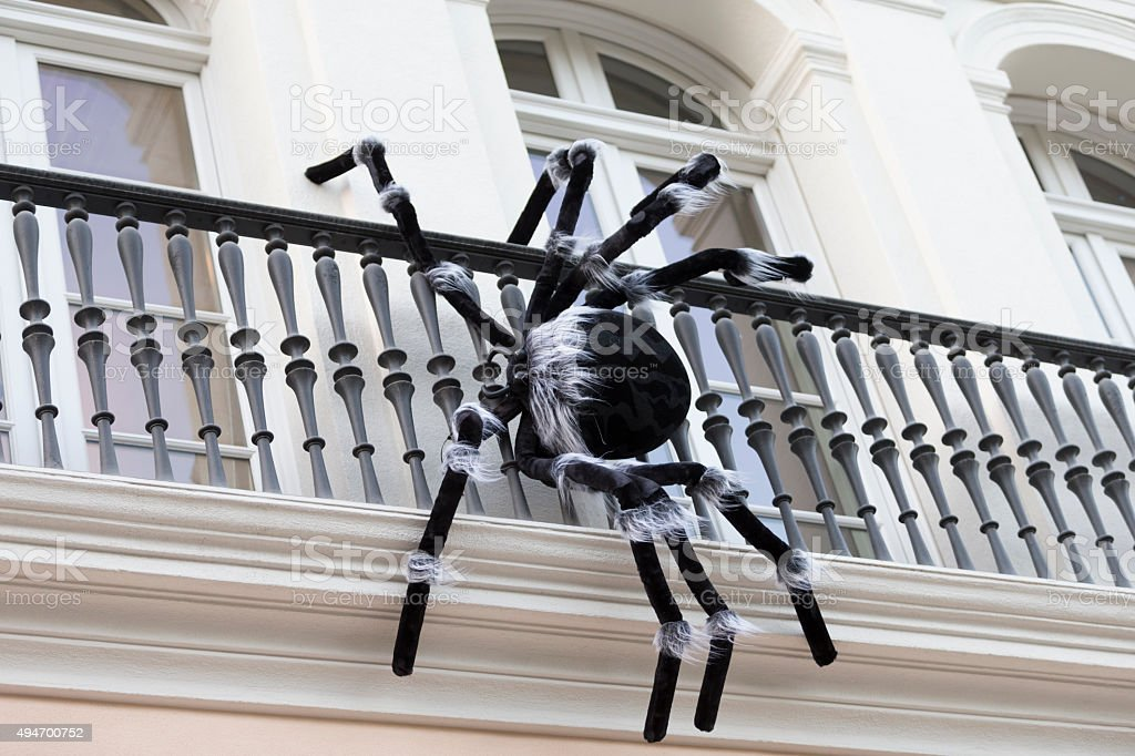 Halloween decoration-Spinder on the balcony, San Francisco Halloween decoration-Spinders on the balcony, San Francisco 2015 Stock Photo