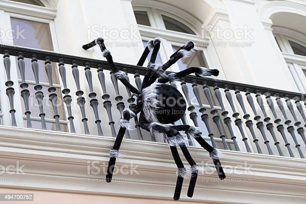 Halloween Decorationspinder On The Balcony San Francisco Stock Photo - Download Image Now