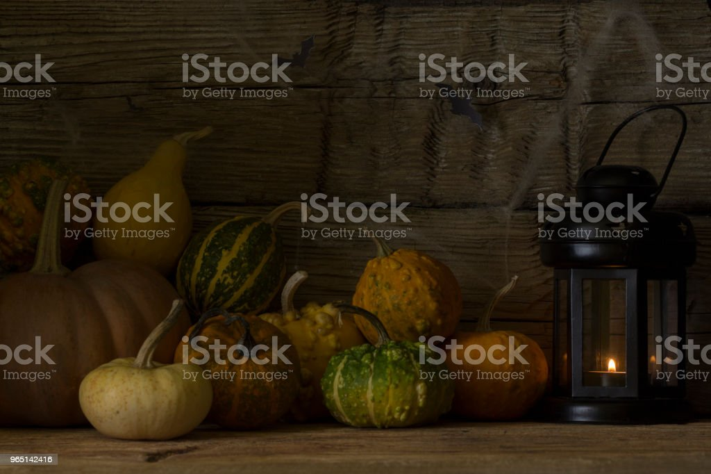 Halloween decorative  pumpkins with a lantern and a candle. royalty-free stock photo