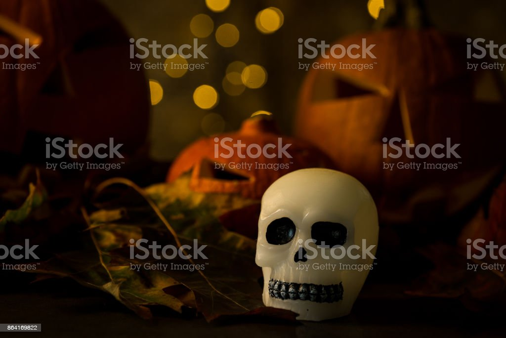 Halloween design with pumpkins. golden bokeh royalty-free stock photo