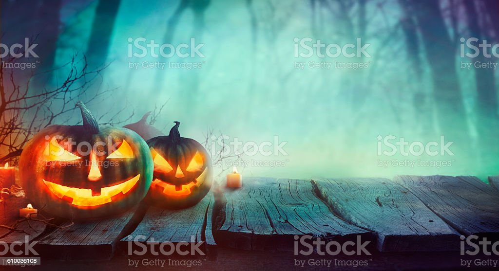 Halloween design with pumpkins stock photo