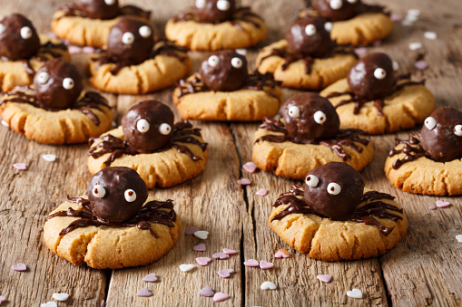 istock Halloween dessert: shortbread cookies with chocolate spiders close-up. horizontal background 1036813714