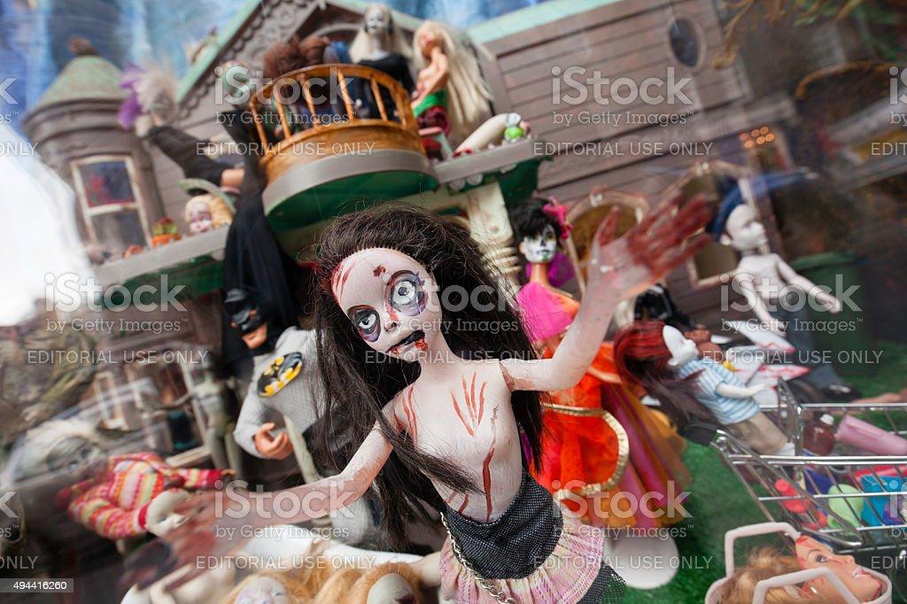 Halloween Shop Displays.Halloween Dolls In Shop Window Display Stock Photo Download Image