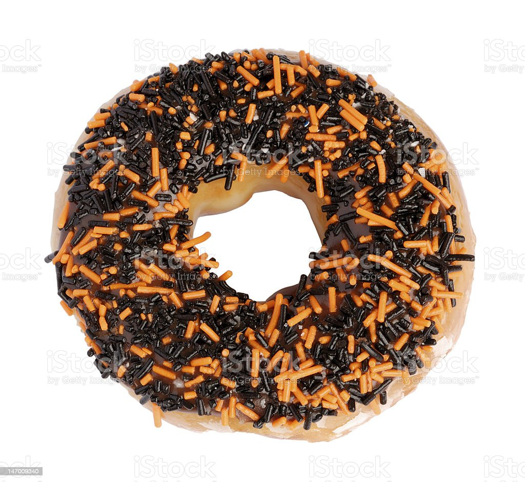 Halloween Donut with black and orange granules stock photo