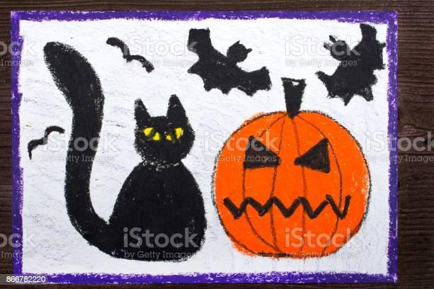 Halloween drawing black cat bad pumpkin and flying bats picture id866782220?b=1&k=6&m=866782220&s=612x612&h=jwnyafaijsylz5vjeiu5xt9c9w9apllb2vuvmuk8nn8=