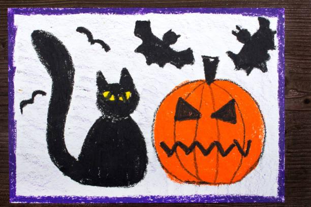 halloween-zeichnung: schwarze katze, schlechte kürbis und fliegende fledermäuse - katze zeichnen stock-fotos und bilder