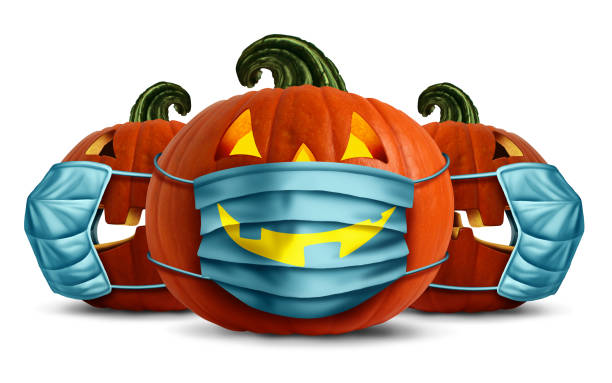 Halloween Face Masks Halloween face masks as a jack o lantern pumpkin wearing a medical face mask as an autumn symbol for disease control and virus infection and coronavirus or covid-19 safety in a 3D illustration style. halloween covid stock pictures, royalty-free photos & images