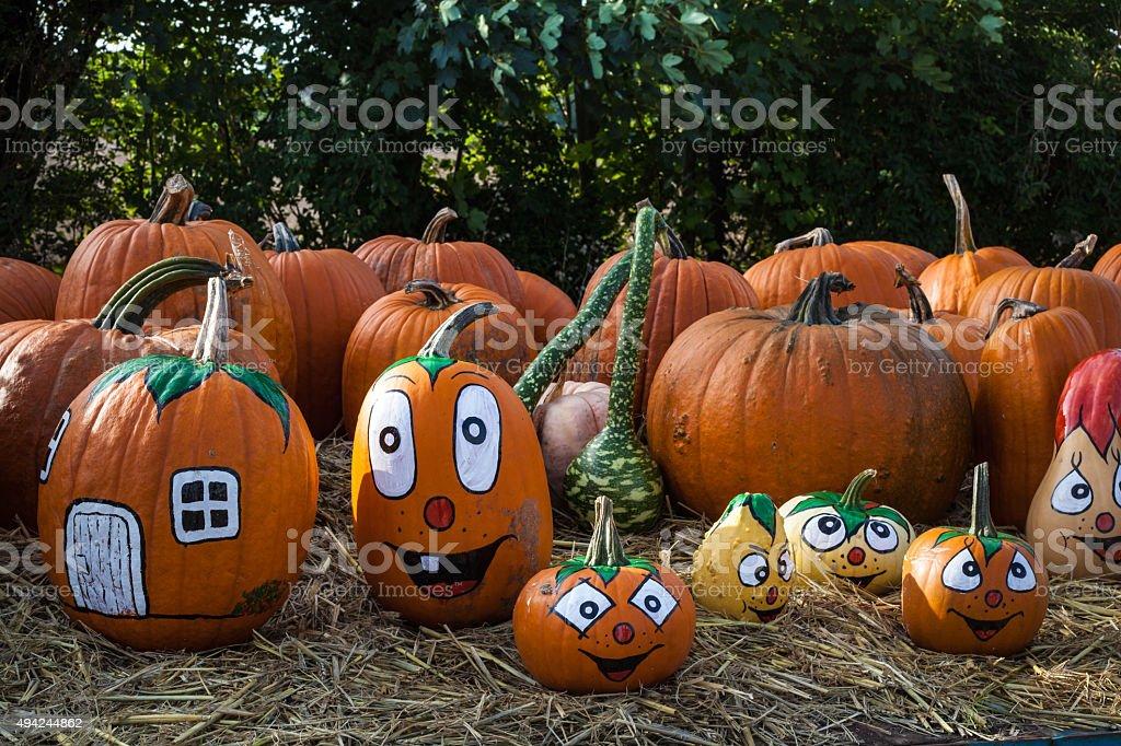 Halloween faces pumpkins stock photo