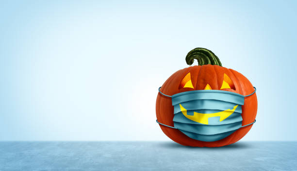 Halloween Facial Mask Halloween facial mask as a jack o lantern pumpkin wearing a medical face protection as an autumn symbol for disease control and virus infection and coronavirus or covid-19 safety in a 3D illustration style. halloween covid stock pictures, royalty-free photos & images
