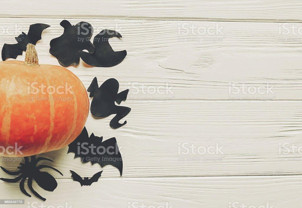 萬聖節平躺。萬聖節快樂的概念。南瓜與女巫幽靈蝙蝠和蜘蛛黑色裝飾在白色木質背景的頂部視圖與空間的文本。秋季假期的切口 - 免版稅人造物件圖庫照片