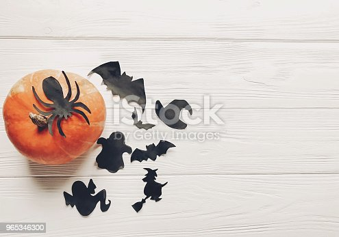 Halloween Flat Lay Happy Halloween Concept Pumpkin With Witch Ghost Bats And Spider Black Decorations On White Wooden Background Top View With Space For Text Cutouts For Autumn Holiday - Stockowe zdjęcia i więcej obrazów Czarownica