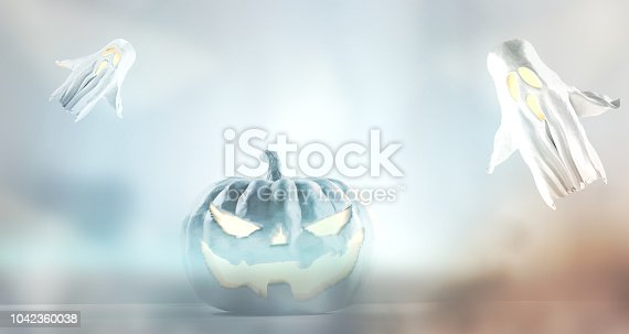 istock Halloween fog background 3d-illustration with halloween pumpkin and ghosts 1042360038