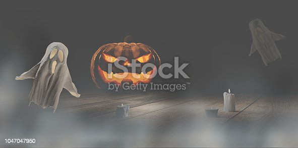 istock Halloween fog mist background Halloween pumpkin and ghosts 3d-illustration 1047047950
