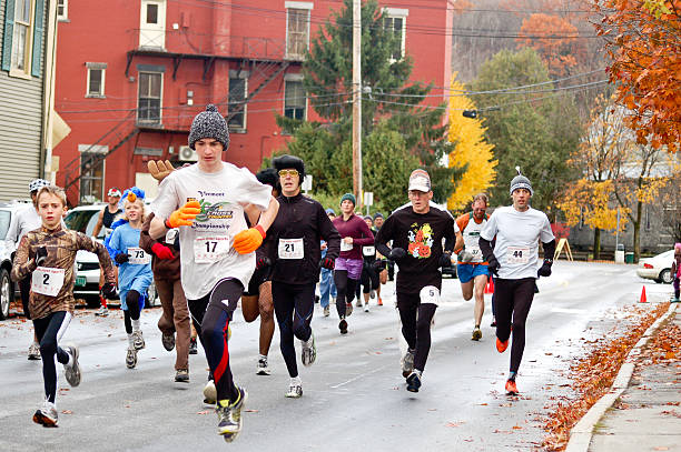 Halloween footrace in Montpelier stock photo