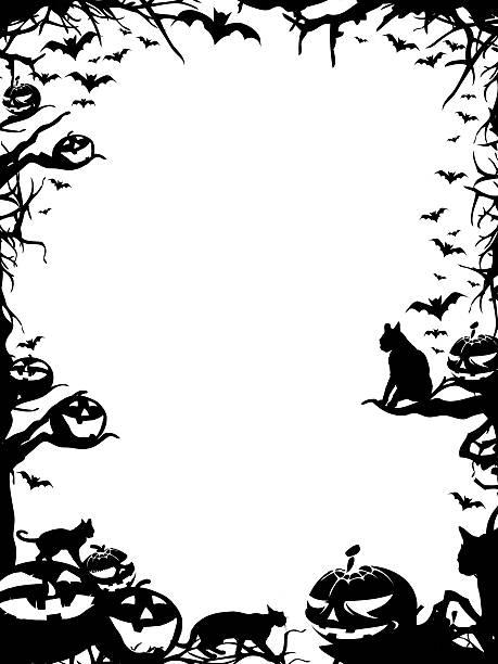 Halloween granica granicy na białym tle – zdjęcie