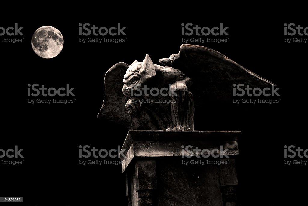 halloween gargoyle and full moon night twilight darkness, gargouille haloween royalty-free stock photo