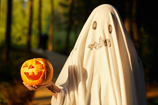 Waist up portrait of funny little kid dressed as ghost holding pumpkin while posing outdoors on Halloween, copy space