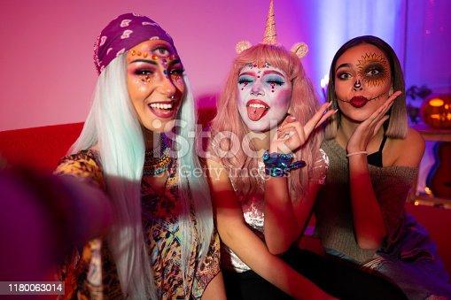 Girls taking selfies at Halloween party.