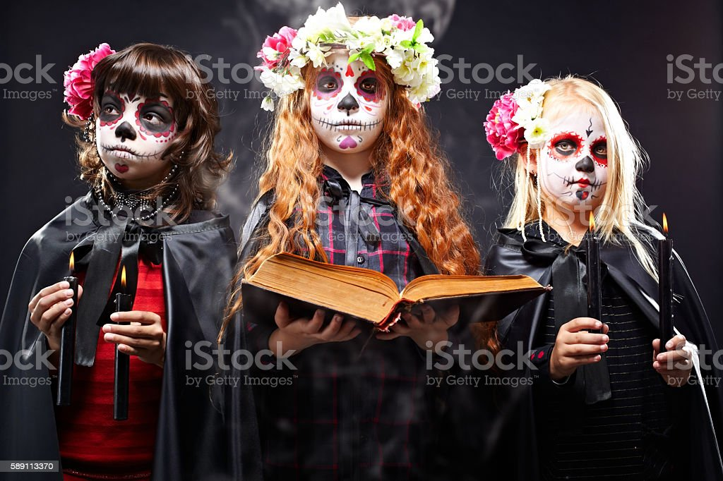 Halloween girls stock photo