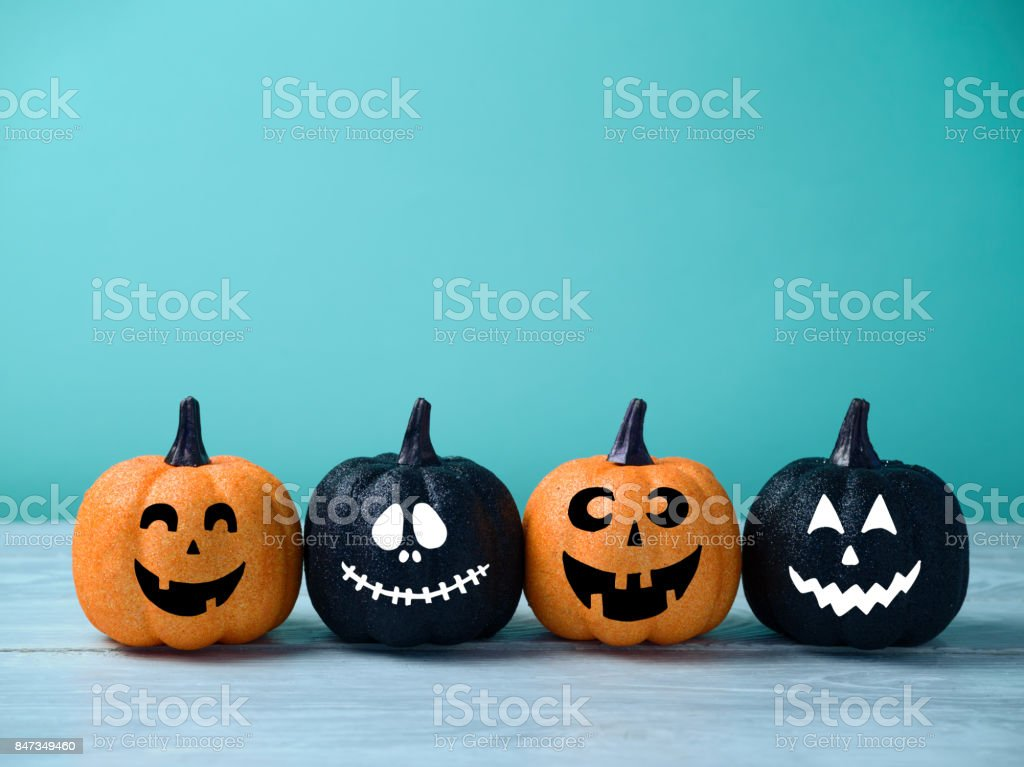 Halloween glitter pumpkin jack o lantern decor stock photo