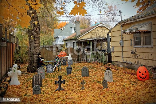 Halloween graveyard decorations.
