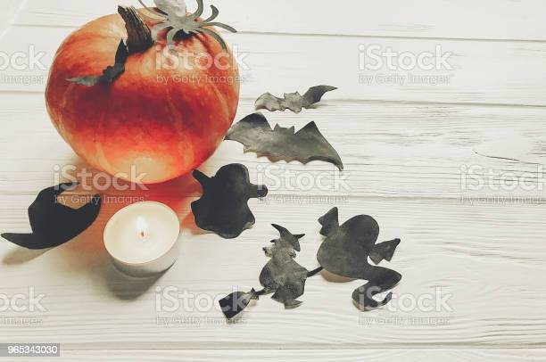 할로윈입니다 해피 할로윈 개념입니다 마녀 유령 박쥐와 거미 검은 장식 흰색 나무 배경 텍스트 위한 공간 평면도 호박 가 휴가 축 하에 대 한 단편 10월에 대한 스톡 사진 및 기타 이미지
