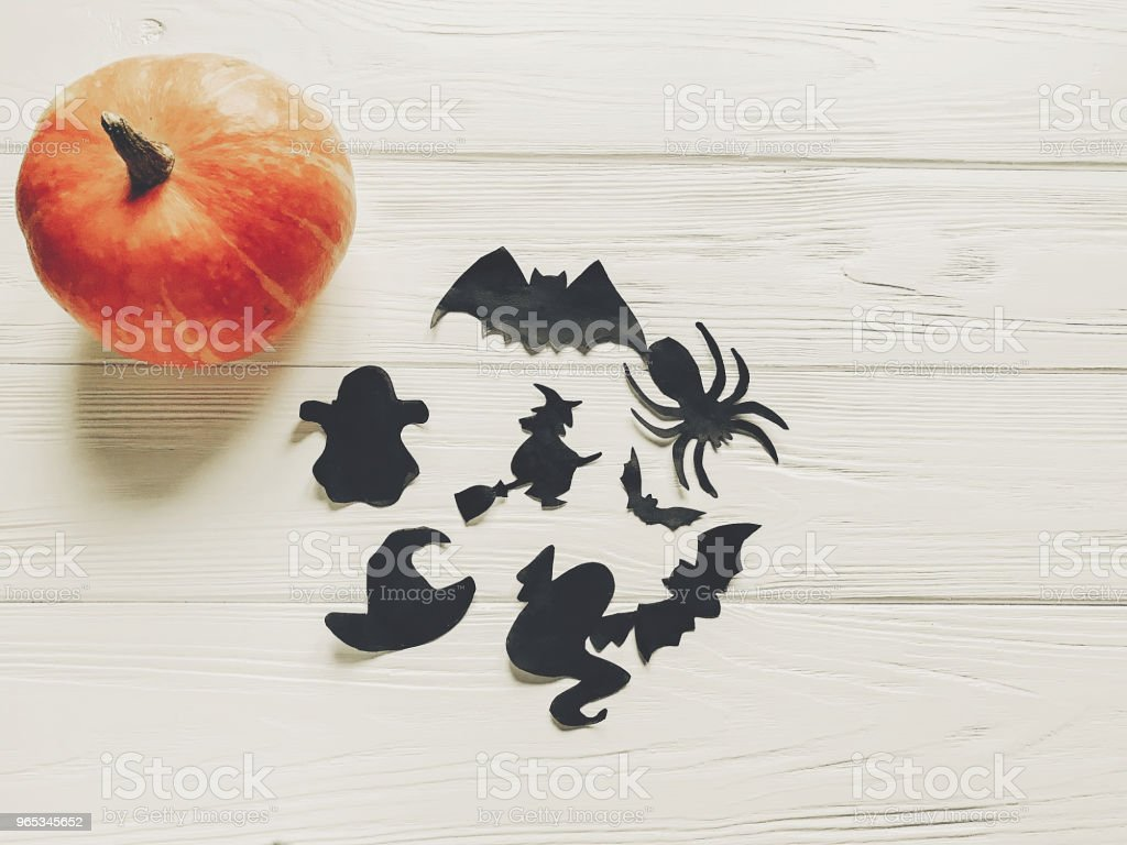 halloween. happy halloween concept. pumpkin with witch ghost bats and spider black decorations on white wooden background top view with space for text. cutouts for autumn holiday celebration royalty-free stock photo