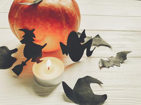 할로윈입니다 해피 할로윈 개념입니다 마녀 유령 박쥐와 흰색 나무 바탕에 검은 거미 장식의 호박 가 휴가 축 하에 대 한 단편입니다 계절 인사말 10월에 대한 스톡 사진 및 기타 이미지